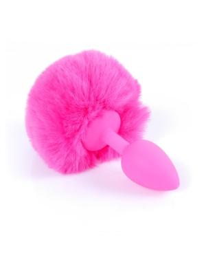 Butt Plug Silicon Bunny Tail - Pink Pom Pom