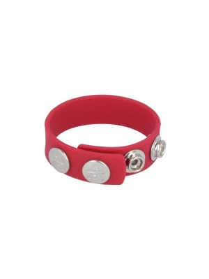SILICONE COCKRING - 3 PRESS STUDS - RED