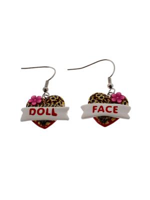 Doll Face Leopard Heart Earrings (2 x 1.5cm)