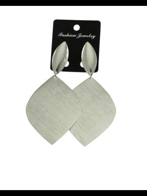 Silver Oval Disc Earrings