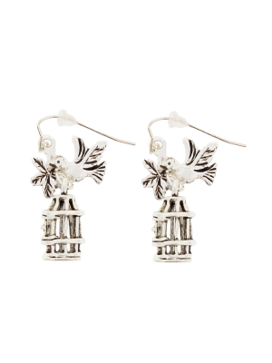 Silver Bird and Cage Earrings (3 x 2cm)