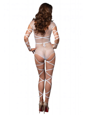 Κορμάκι με δίχτυ και λουριά - Leg Avenue Fishnet teddy with wraps One Size White
