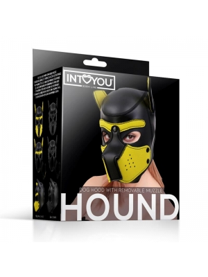 Hound Dog Hood with Remov. Muzzle Black & Yellow L
