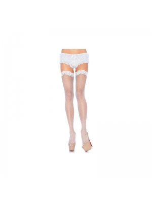 Fishnet stocking with lace top white
