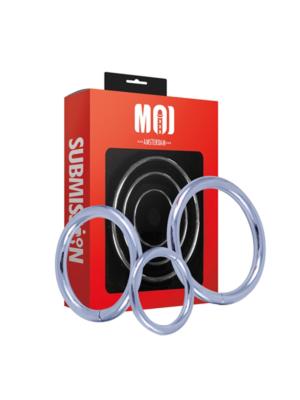 Mr. Threesome   Chromed Cock Ring 3 Set . Γ˜ 40-45-50 mm.
