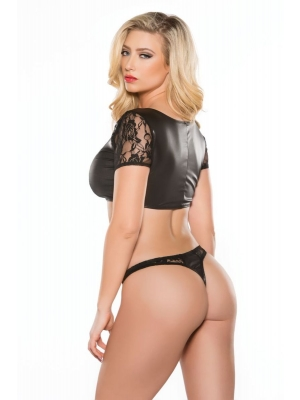 Kitten Lace And Wet Look Top And Thong Set - Black One Size