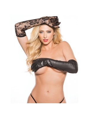 Kitten Lace And Wet Look Gloves Black OS