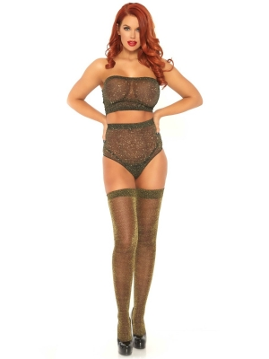 Lurex spandex top and panty - gold