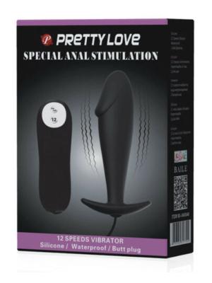 Pretty Love Silicone Anal Plug Stimulation Black 10cm