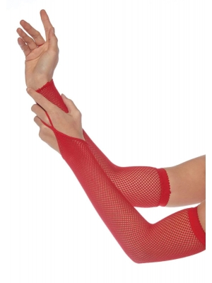 Fishnet arm warmers Red one size