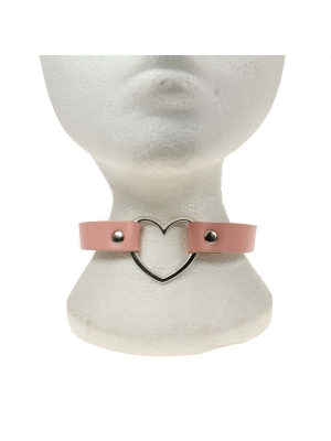 HANDMADE  ROW HEART FITTING LEATHER CHOKER BABY PINK