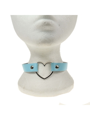 HANDMADE HEART FITTING LEATHER NECKBAND BABY BLUE