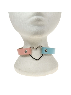 HANDMADE  ROW HEART FITTING LEATHER CHOKERBABY PINK AND BABY BLUE