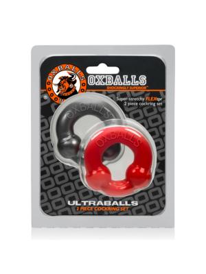 Oxballs Ultraballs Ring - Steel & Red Pack Of 2