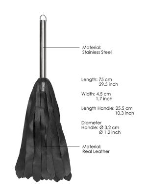 Metal Steel Handle 'D Calf Softy 36 Tails - Black