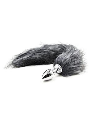 Long Fox Tail Anal Plug gray