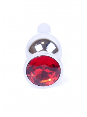 Plug-Jewellery Silver BUTT PLUG- Red