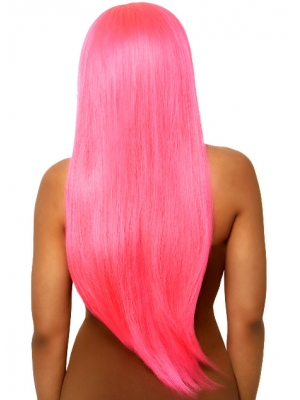 Long straight center part wig - Pink