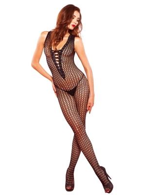 Crochet net bodystocking - Black One Size