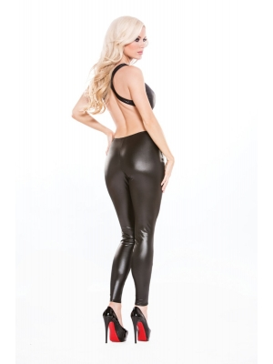 Wetlook bodysuit with black Allure lace - One Size