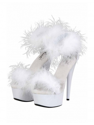 White Open Platform with Feathers 14cm Heel