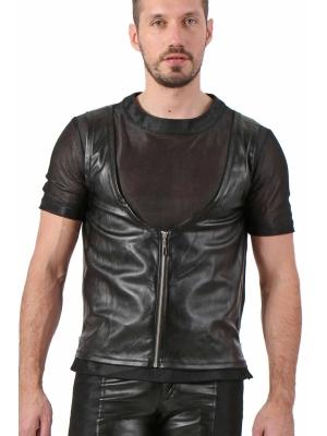 Leatherate Mens Top - Black V3056AH
