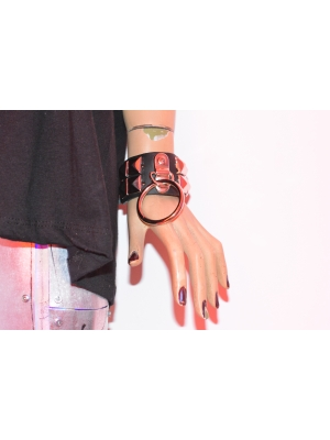 2 ROW NEW PYRAMID AND RING LEATHER WRISTBAND - BLACK