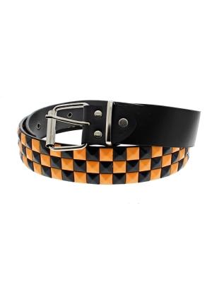 Black & Neon Orange Chessboard 3-Row Pyramid Belts